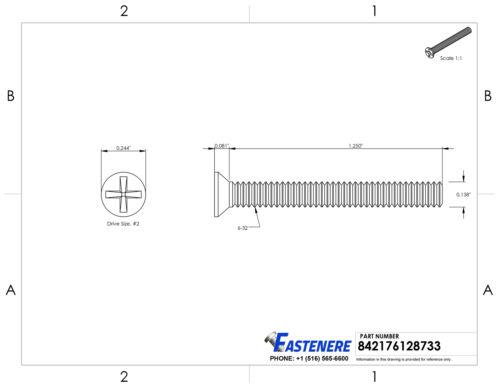 "6-32 x 1-1//4/"" Flat Head Machine Screws Phillips Drive Stainless Steel Qty 100"