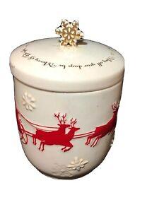 Vintage Christmas HALLMARK Santa sleigh Candle holder Snowflake Porcelain READ