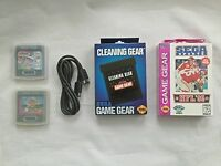 Mew Sega Game Gear Bundle (sonic 2, Link Cable, World Series Baseball Plus More)