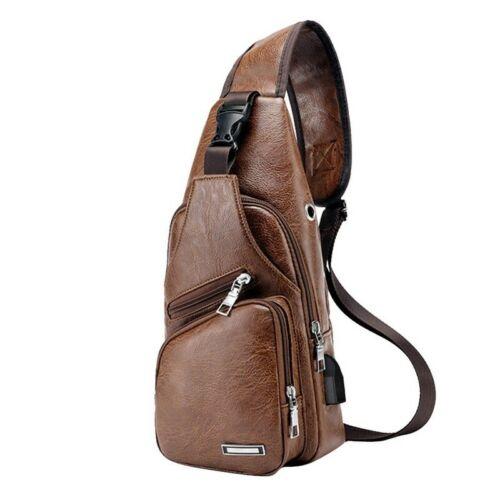 Men/'s Messenger Zipper Shoulder Bag Sling Chest Pack Crossbody USB Charging Port