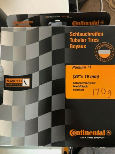 "New in Box Continental Podium TT Tubulaire Pneu 28/"" x 19 mm Presta Noir Chili"
