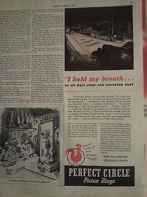 1939 Perfekter Kreis Kolbenringe Race Autoteile Original Anzeige