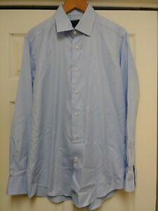 David-Donahue-Trim-LS-Button-Front-Dress-Shirt-Blue-Sz-16-1-2-34-35