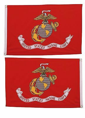 USA and Marines Marine Flag 3x5 EMBROIDERED 2 double sided Flag Wholesale Lot
