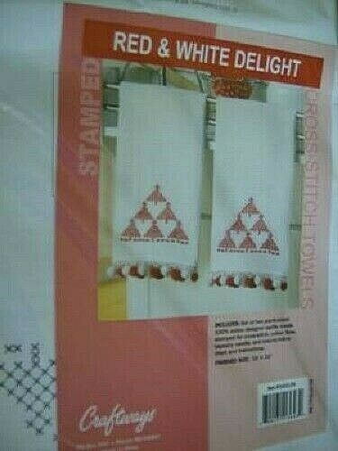 Red /& White Delight Stamped Cross Stitch Towels KIT Finished W//Red//White Pompoms