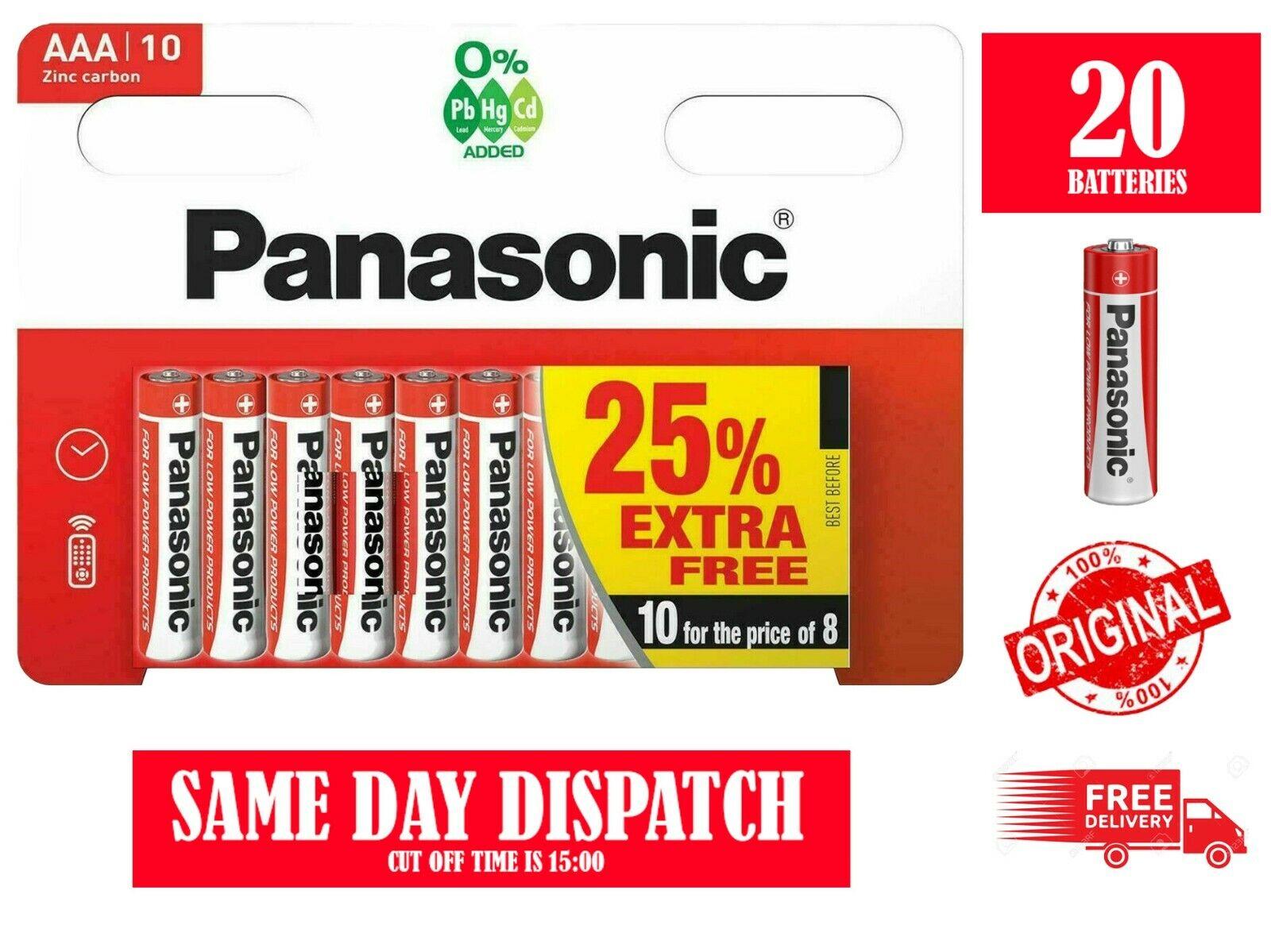 20 x AAA PANASONIC Zinc Carbon Batteries - New LR3 1.5V Expiry 2024
