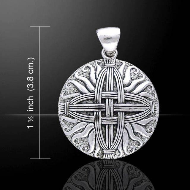 Sterling Silver Celtic Brigid's Cross Pendant | Large Fire Goddess Brigit Amulet