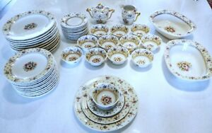 RAYNAUD-LIMOGES-France-12-Place-40-Piece-Setting-Floral-Gold-Accents-extras-VGC
