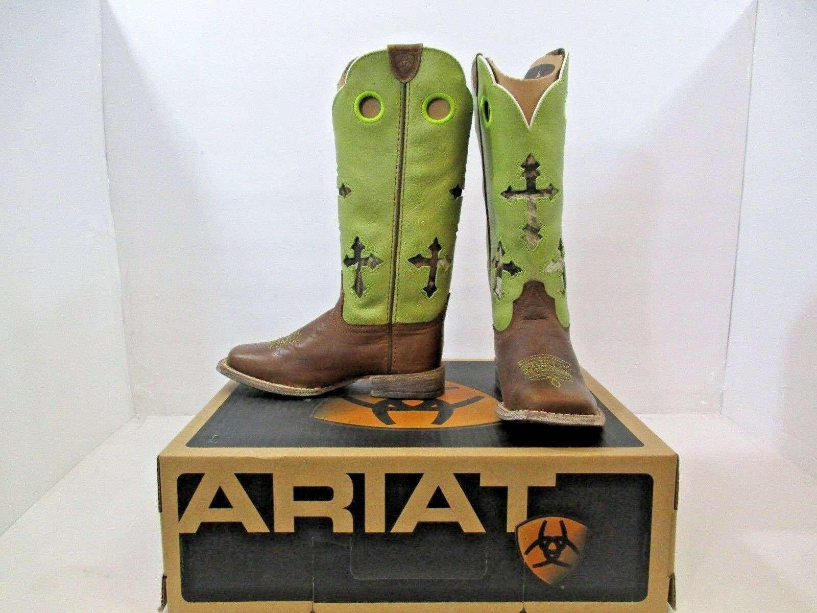 Ariat Kids Ranchero Boots New In Box Powder Brown LIme Wide Square Toe 11  H 9M