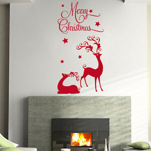 MERRY-CHRISTMAS-REINDEER-HOME-WALL-SHOP-WINDOW-Wall-Quote-Sticker-Decal