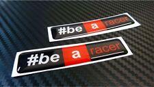 2 ADESIVI APRILIA RACING RESINATI  #BE A RACER  3D STICKERS 7X1,5 CM COD.11