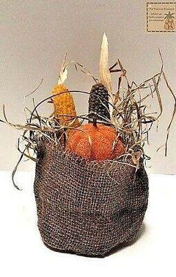 Primitive//Country Scented Handmade Beeswax Fall BURLAP SACK PUMPKIN//CORN