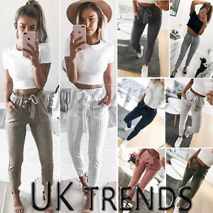 UK-Womens-High-Waist-Paperbag-Cigaratte-Striped-Trousers-Ladies-Pants-Size-6-14