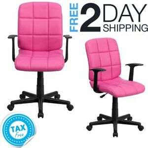 Cool Details About Pink Desk Chair With Arms Hot Swivel Computer Office Girls Armrest Back Support Gmtry Best Dining Table And Chair Ideas Images Gmtryco