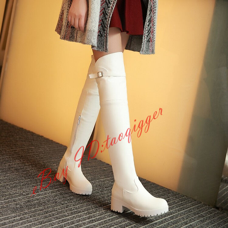 Womens Fashion Loose Over Knee High Boots Low Heel Stretchy Tall Boots Plus Size