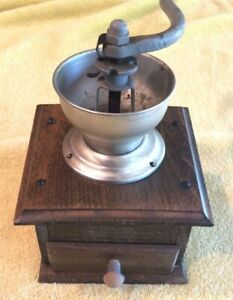 Vintage-Antique-Coffee-Bean-Grinder-Metal-and-Wood