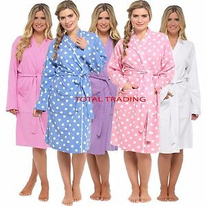 Womens Ladies Waffle 100 Cotton Summer Dressing Gown Robe Gowns Ebay