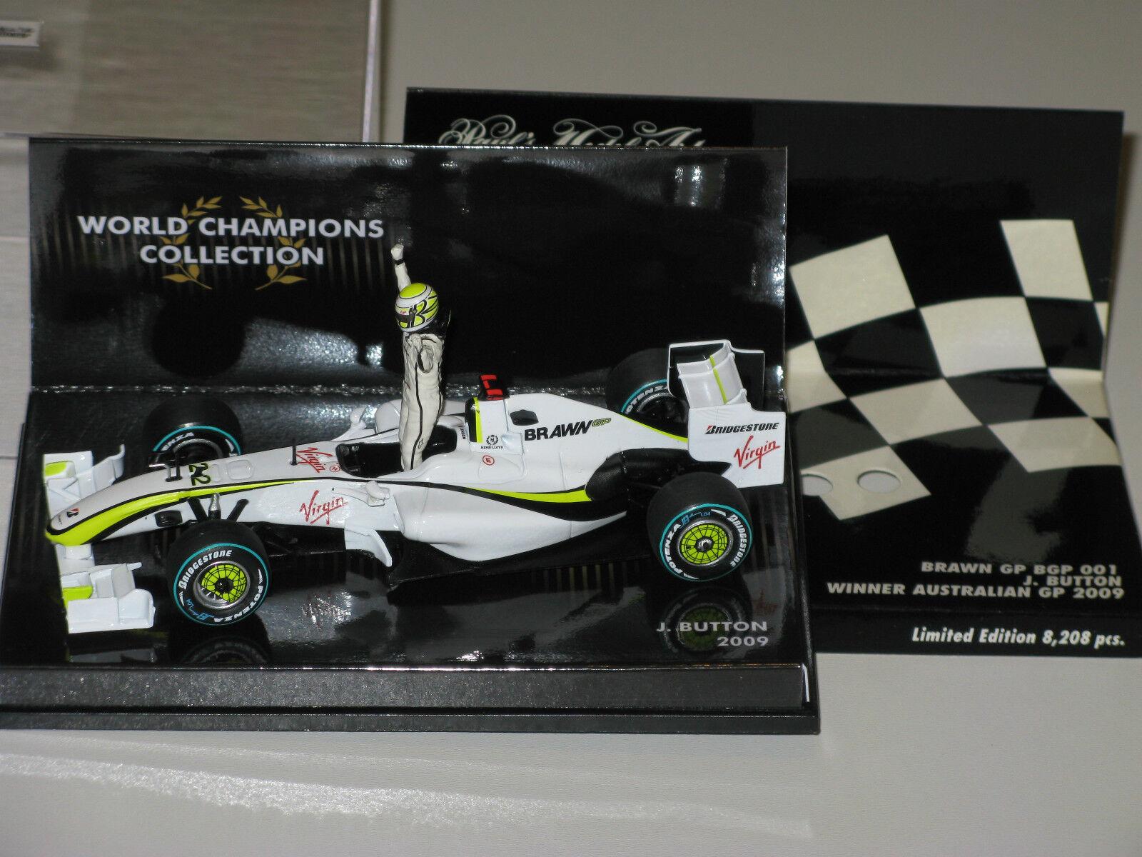 Brawn GP001 - World Champions Champions Champions 2009 - J. Button - F1 1 43 minichamps 1b8425