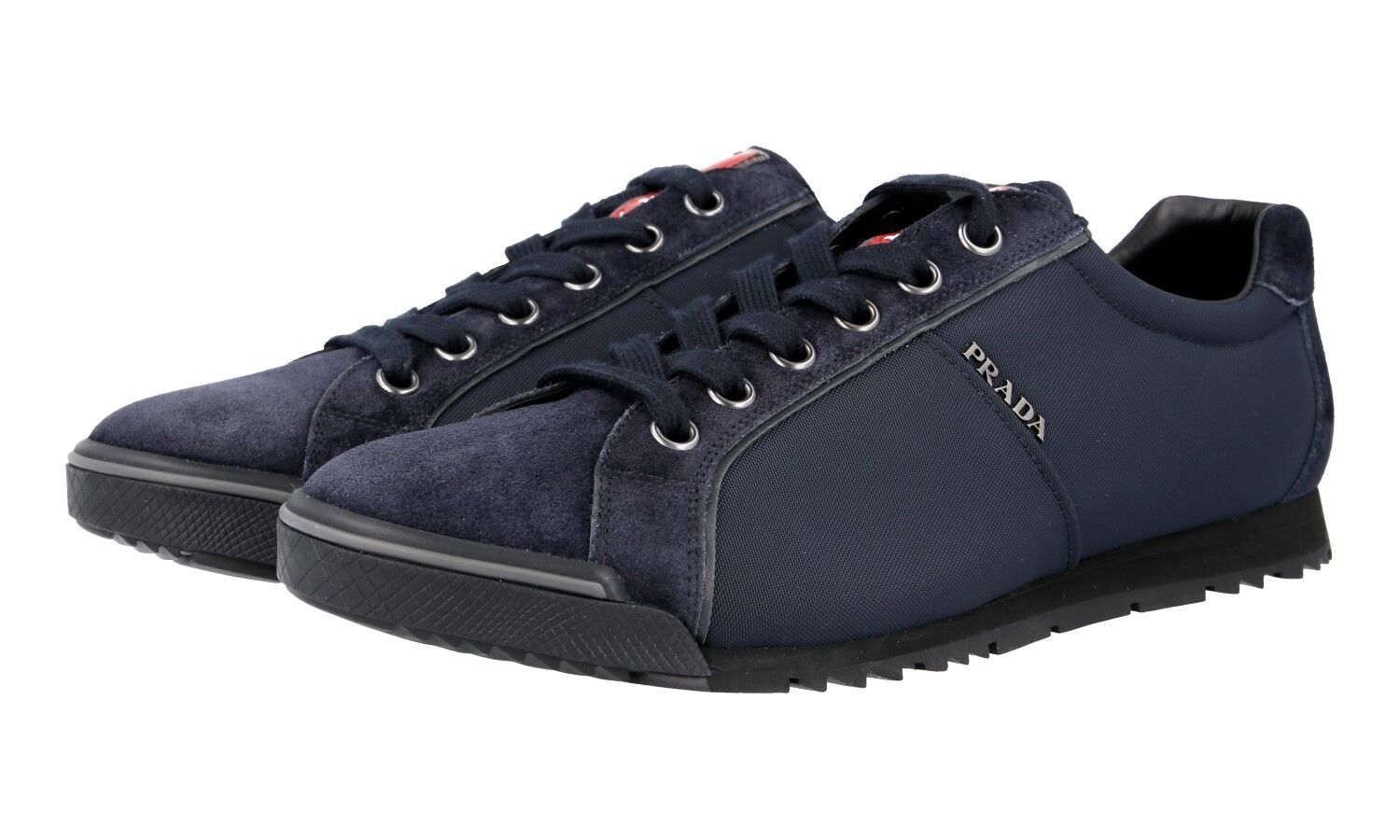 AUTH PRADA TRAINERS SHOES 4E2719 blueE SUEDE + NYLON NEW 10 44 44,5