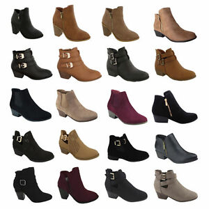 New-Womens-High-Heels-Booties-Ankle-Boots-fashion-low-Shoes-Wedge-Size-Pumps-sz