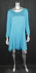 SIMPLY-SOUTHERN-NWT-Teal-Green-Stretch-Knit-3-4-Sleeve-Tunic-Top-Dress-sz-XXL