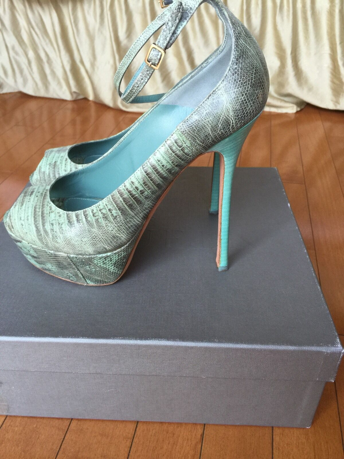 McQueen Leather Leather Leather peep-toe platform pumps with ankle strap 8 8.5 fb4ba5