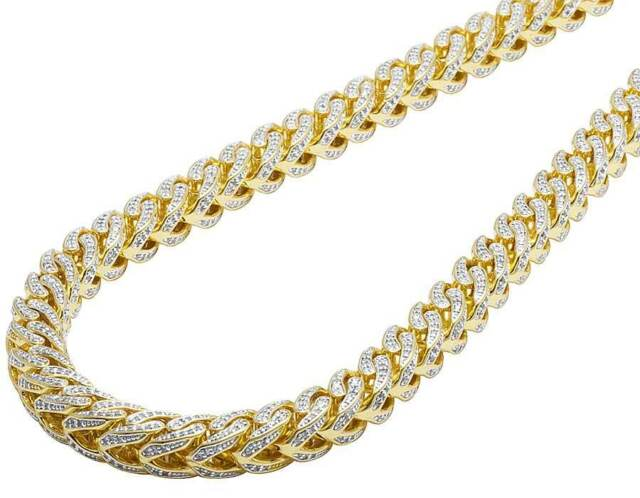 ca1c364f266 Men's Solid Yellow Gold Finish Lab Diamond Iced Franco Necklace Chain 8MM  ...