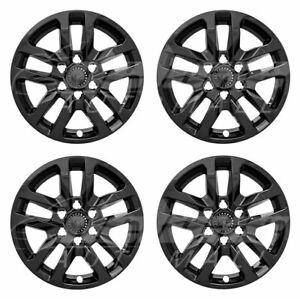 "18"" Gloss Black Wheel Skins Hubcaps FOR 2019 2020 Chevy Silverado 1500"