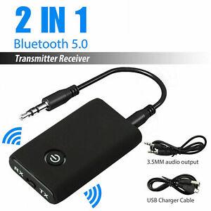 Wireless Bluetooth 5.0 Transmitter Receiver A2DP Audio 3.5mm Jack Aux Adapter AU