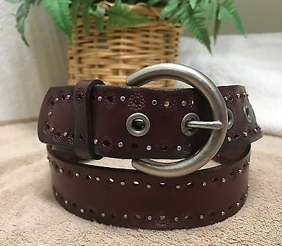 Fossil Womens Brown Embossed Studded Leather Belt M