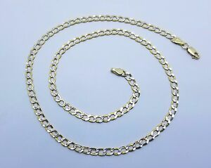10k Gold Cuban Link Chain >> 10k Diamond Cut Two Tone Gold Cuban Link Chain Necklace 3 5mm 16