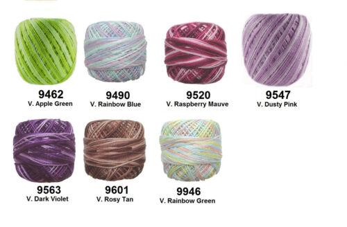 e-mail me Colour Codes 9 x 40m RUBI Perle #8 Crochet Cotton Embroidery Thread