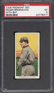 Rare 1909-11 T206 HOF Roger Bresnahan Batting Piedmont 350 St Louis PSA 5 EX