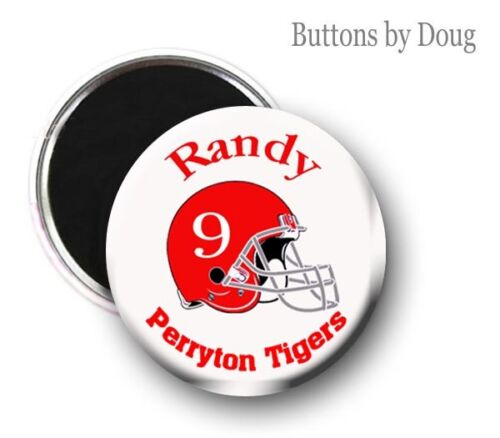 and Color. Football Zipper Pull Pin Team Name,Number or Magnet Graphics Name