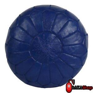 Genuine-dark-blue-Leather-Pouf-Leather-Boho-Ottoman-Footstool-chairs-living-room