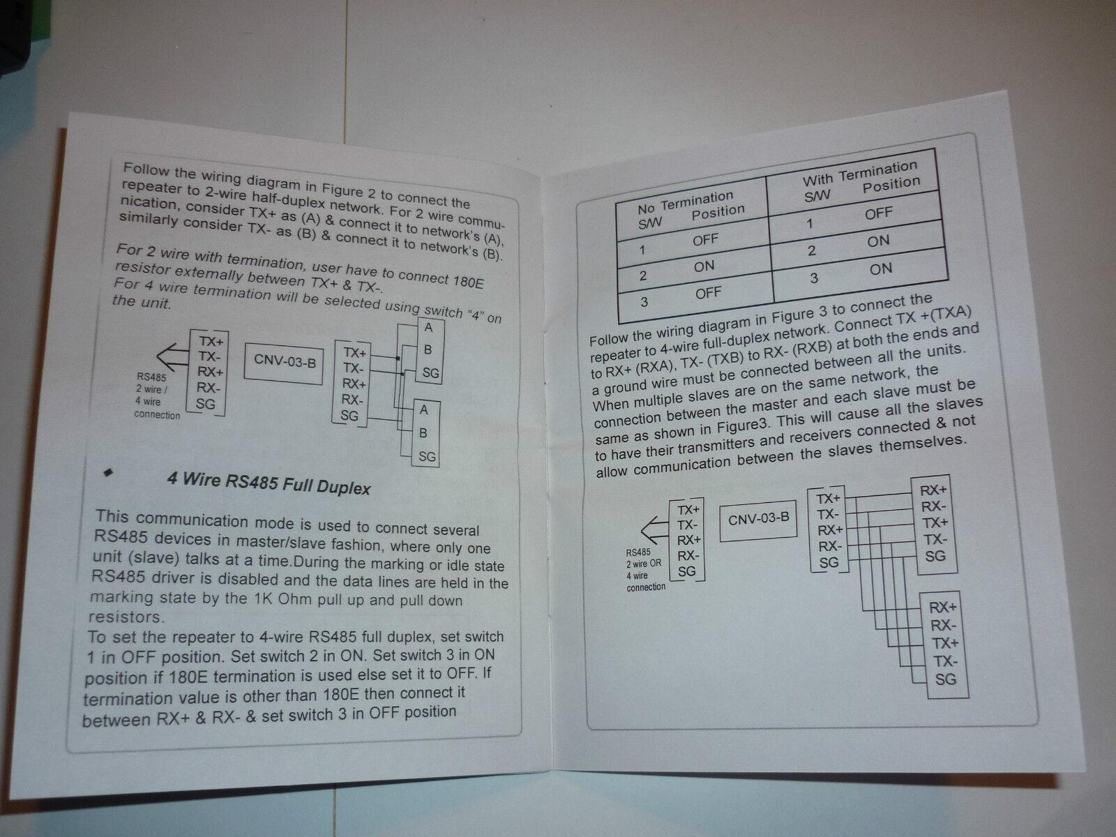 Renu Cnv 03 B Rptiteur De Signaux Rs422 Rs485 Alim 24vcc Rs 485 Diagram 2wire Convertisseur Ebay