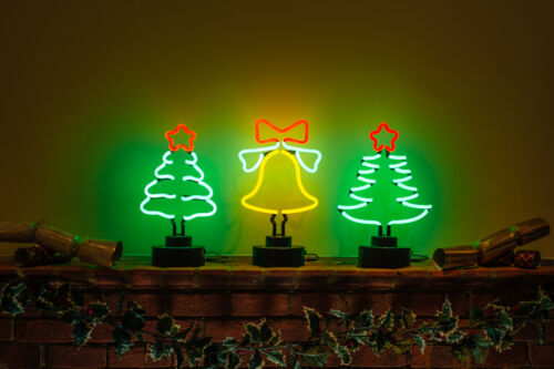 not LED Real Neon Green TRADITIONAL CHRISTMAS TREE Red Star Table Decoration