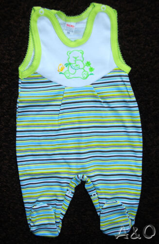 Baby Strampler Ärmellos Unisex 56 62 68 NEU  Grün Bär Stramplerhose Baumwolle