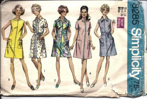 8285 Vintage Simplicity Sewing Pattern Misses 1960/'s A line Dress Round Neckline