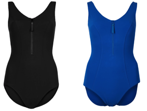 Ex Marks and Spencer Secret Slimming™ Zip-Up Swimsuit IN Blue and Black P174