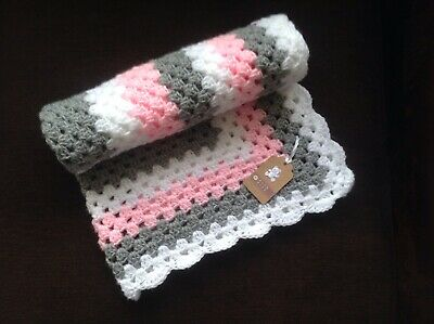 Hand crocheted baby/'s blanket//shawl//car seat//pram//crib white and blue dk wool