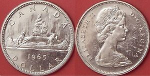 Brilliant-Uncirculated-1965-Canada-Medium-Beads-amp-Pointed-5-Silver-1-Dollar