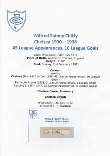 WILF CHITTY CHELSEA 1930 1938 RARE ORIGINAL HAND SIGNED CUTTINGCARD