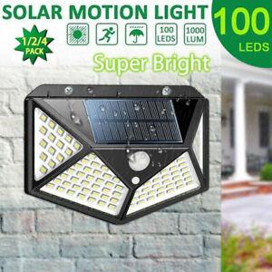 100LED-Solar-Lampara-de-Pared-con-Sensor-Movimiento-IP65-Exterior-Jardin-Luz