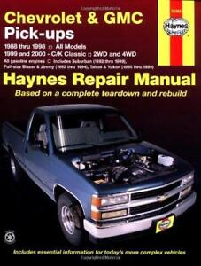 haynes chevrolet gmc c k 10 20 30 88 00 owners service repair rh ebay co uk 88 Chevy Silverado Lifted 98 Chevy Silverado