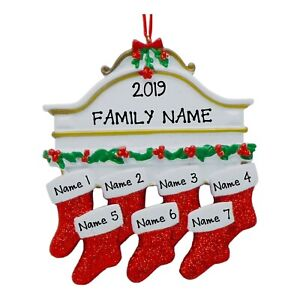 PERSONALIZED Stockings on Fireplace Mantle Family of 7 ...