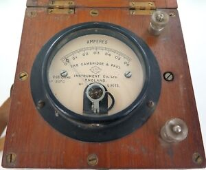 .ANTIQUE CAMBRIDGE & PAUL INSTRUMENT Co WOODEN CASE AMMETER - MEASURES AMPERES