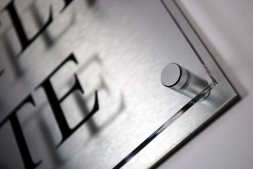 contemporáneo moderno. Número De Casa Firmar//Placa Aluminio Cepillado Y Acrílico Lg
