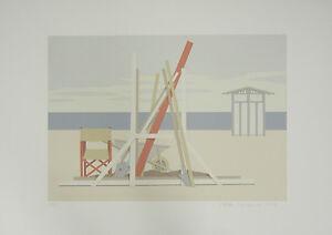 """"""" Plage Ii """" Signé à La Main Limitée Édition Lithographie 1982 Par Aldo Andreolo"""