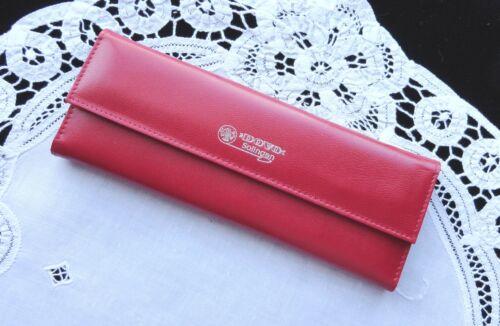 Snap Leather CASE for 3-piece Scissor Set Solingen Germany DOVO Red Fold Over